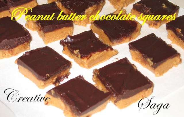 Peanut butter chocolate squares easy dessert recipe for Simple peanut butter dessert recipes