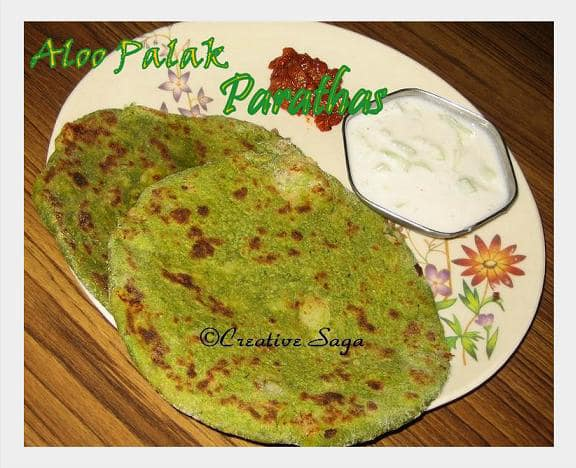 Aloo palak parathas spinach bread with potato stuffing recipe course breads forumfinder Gallery