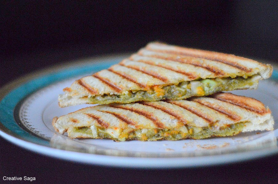 basil pesto vegetable sandwich