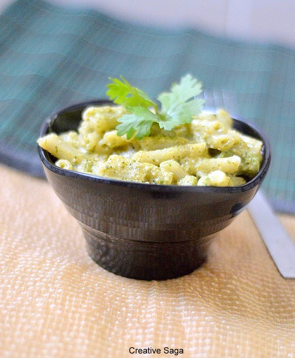 Pasta(penne)in cashew coriander sauce (with video)